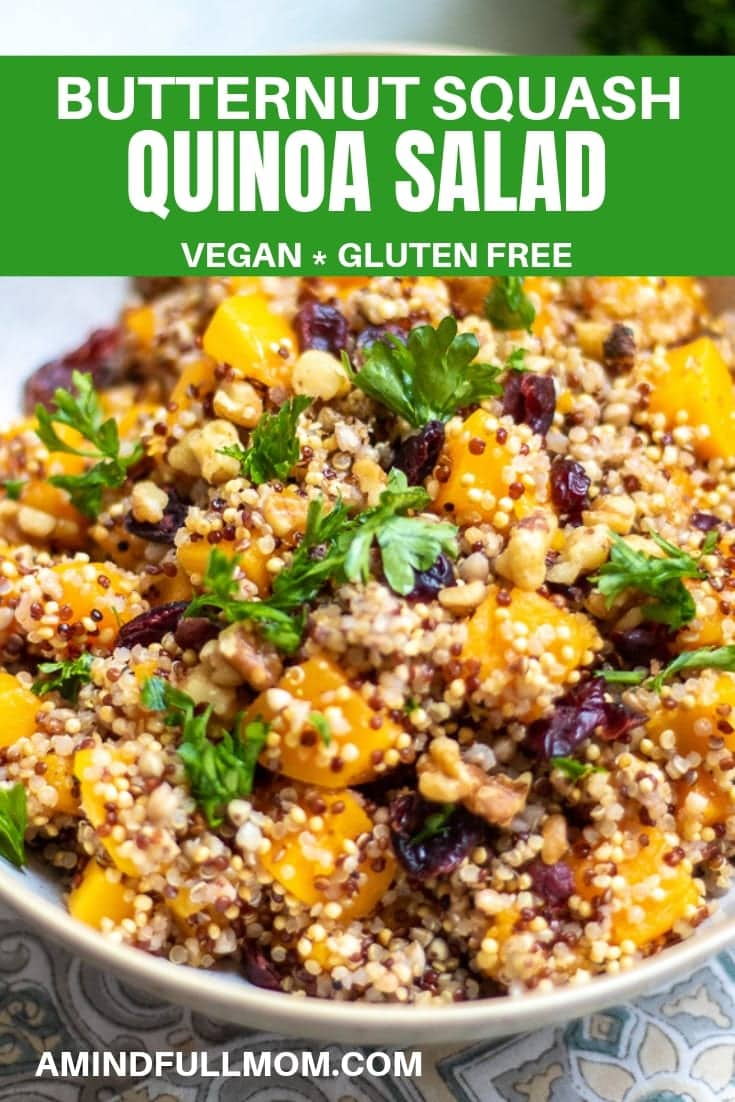 Harvest Quinoa Salad: This fall Quinoa Salad is made with roasted butternut squash, dried cranberries and a pumpkin vinaigrette for a delicious gluten-free and vegan Fall Side Dish.