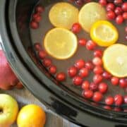 Orange Pineapple Spiced Cider in slow cooker with oranges and cranberries