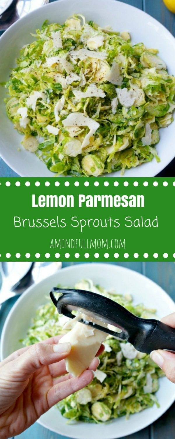 Lemon Parmesan Brussels Sprouts Salad: 5 Simple Ingredients create a knock out salad. #Thanksgiving #GlutenFree #Paleo #Salad