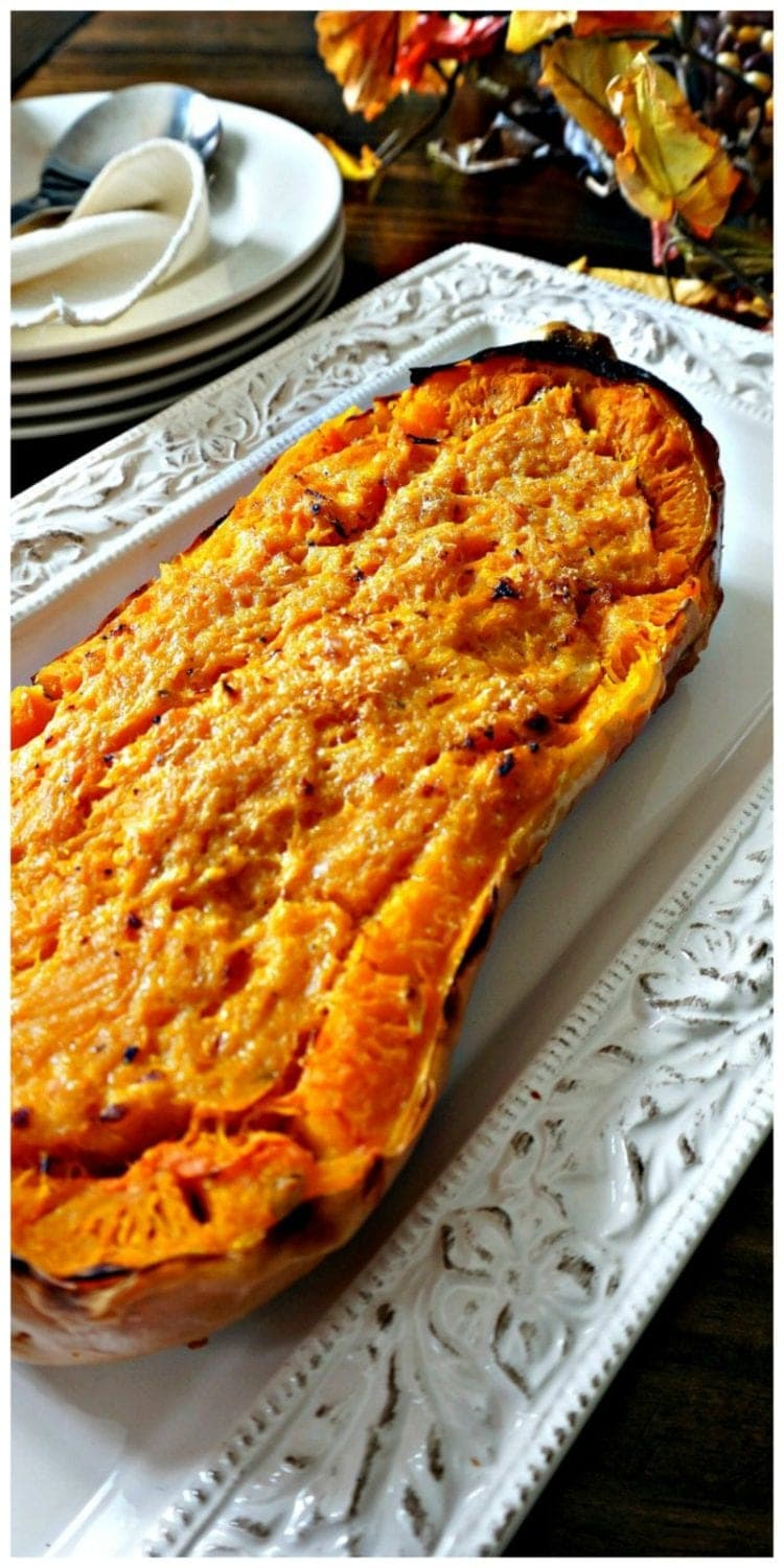 Creamy butternut squash baked into a baked butternut squash topped with parmesan cheese