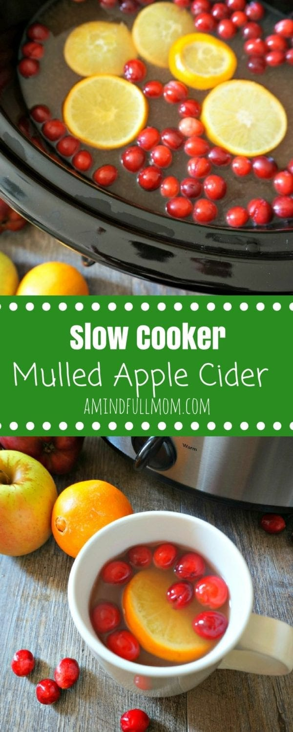Slow Cooker Mulled Cranberry Cider: Apple cider, pineapple juice, fresh oranges, and cranberries are spiced with cinnamon, ginger, and nutmeg and simmered together in the slow cooker. #slowcooker #Christmas #beverage #Wassail