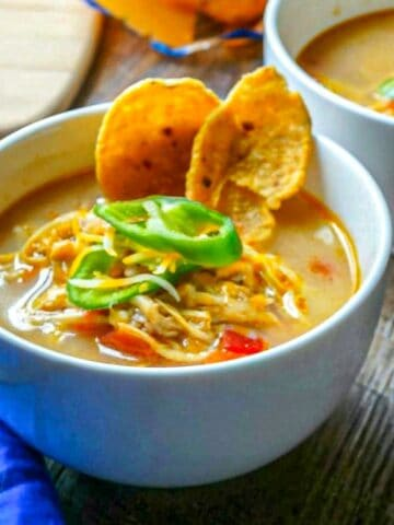Bowl of Creamy Slow Cooker King Ranch Soup