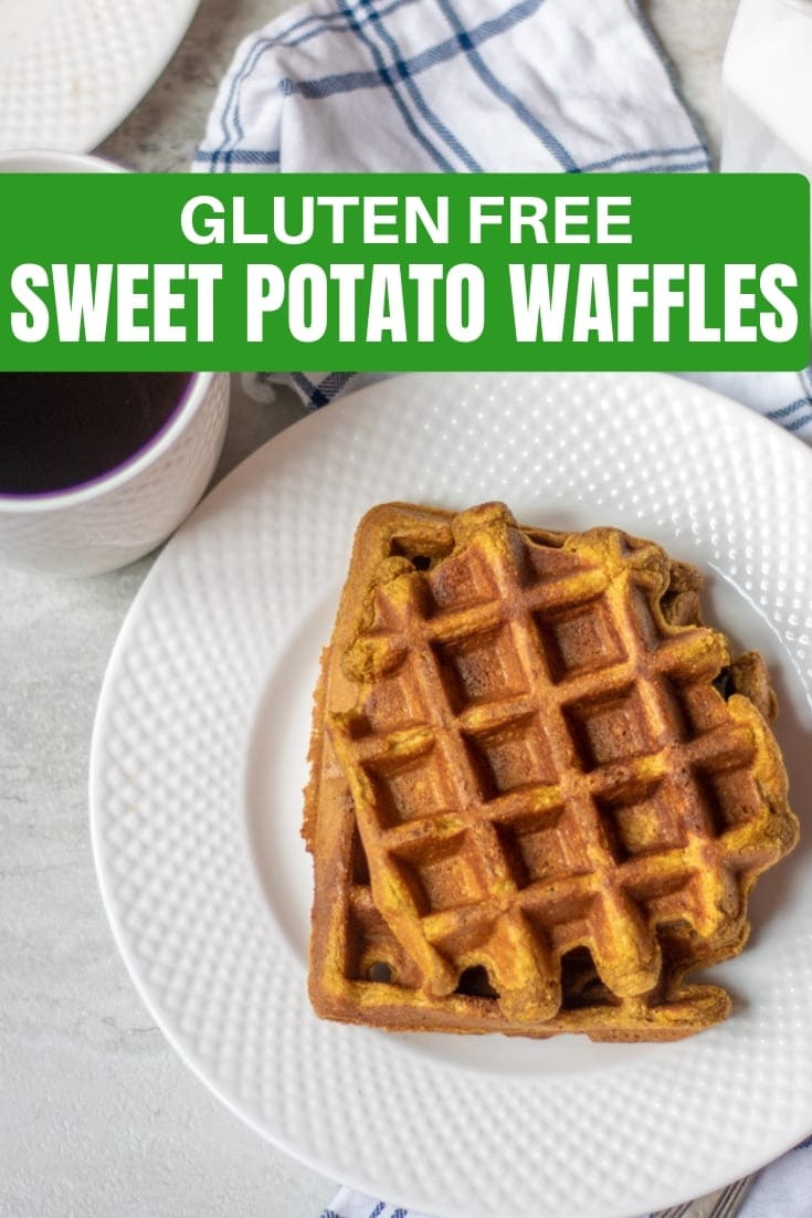 Gluten Free Sweet Potato Waffles: An easy recipe for homemade sweet potato waffles made in a blender with rich, warming spices, and sweet potato. #glutenfree #waffle #sweetpotato #breakfast