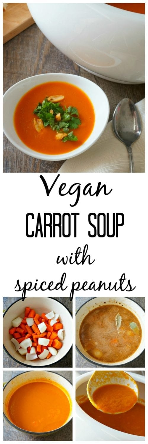 Vegan Carrot Soup with Spiced Peanut: Simple ingredients shine in this easy soup recipe.