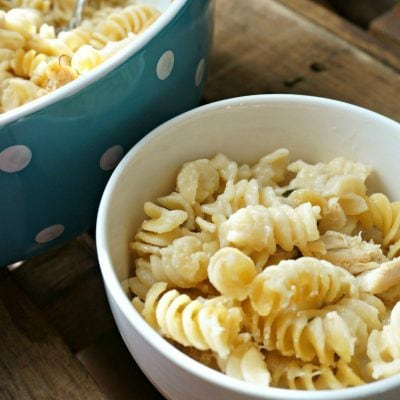 Parmesan sauce covers rotini noodles in a white bowl.