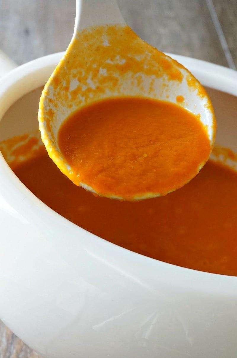 Creamy vegan carrot soup. Gluten Free. Easy. Simple Ingredients.