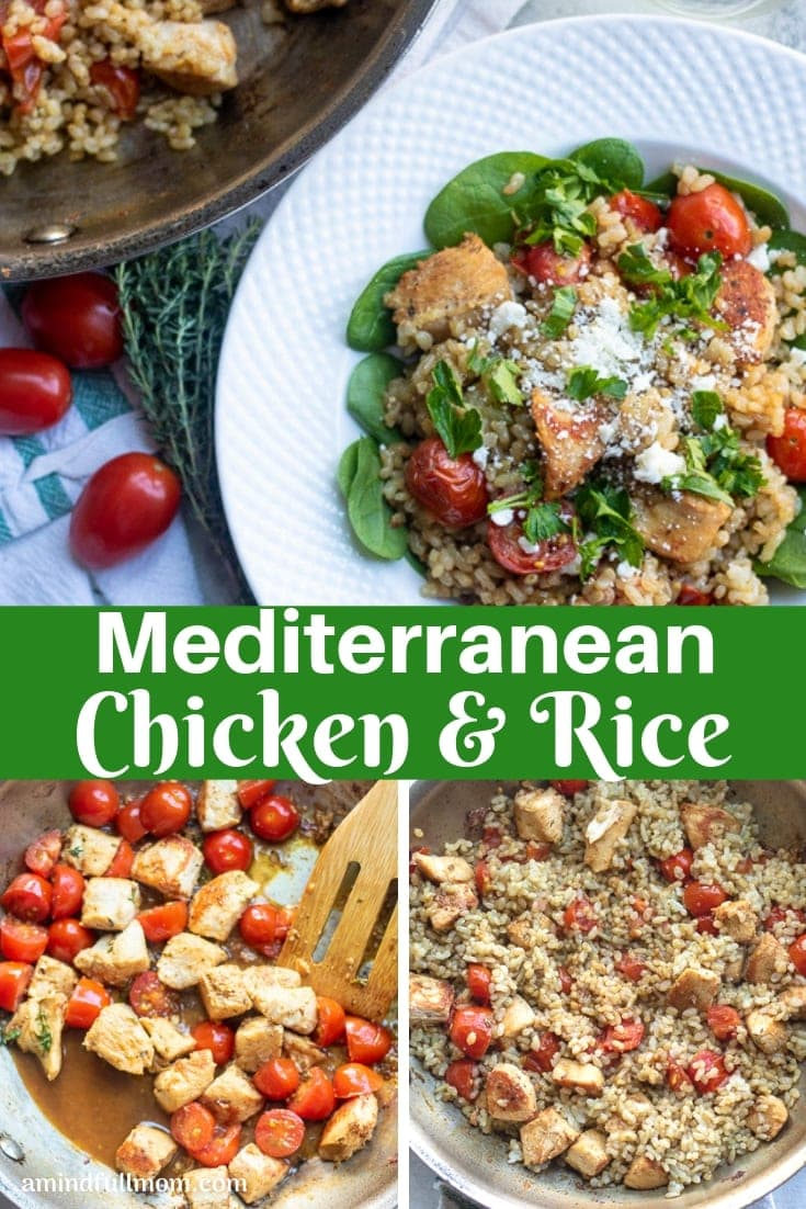 This Mediterranean Chicken and Rice Skillet is a one pan chicken dinner. This chicken skillet dinner is brimming with flavor from garlic, white wine, fresh thyme, spinach, tomatoes, and feta cheese.