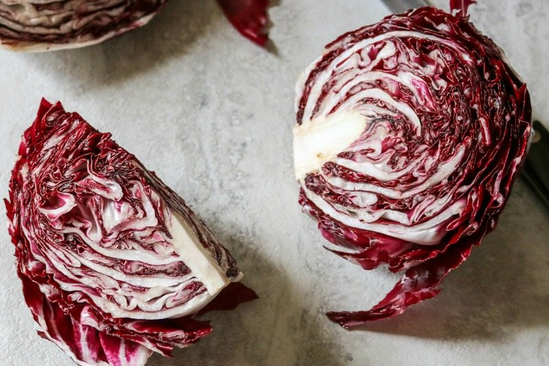 Radicchio cut into quarters