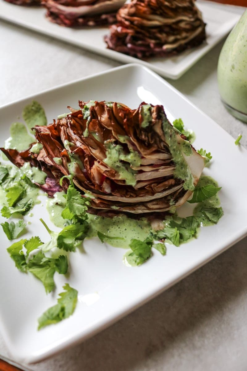 Red and Green Salad: Roasted Radicchio served with a Green Goddess Dressing