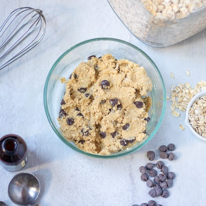 Mixing Bowl with Oatmeal Chocolate Chip Cookie Batter