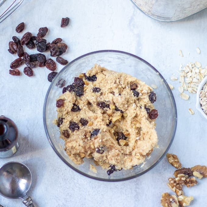 Oatmeal Cookie Dough with Raisins and walnuts