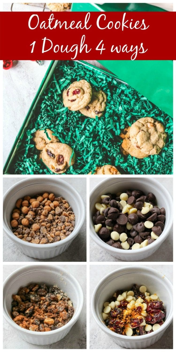 Oatmeal Cookies 4 Ways: One Cookie Dough 4 Different Cookies. Start with the best oatmeal cookie dough recipe and then add in 4 delicious combinations to end up with four completely different cookies. The only cookie recipe you will ever need!