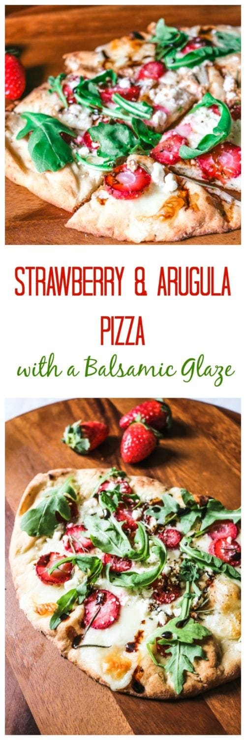 Savory Strawberry Pizza with Balasmic, Feta, Rosemary and Arugula