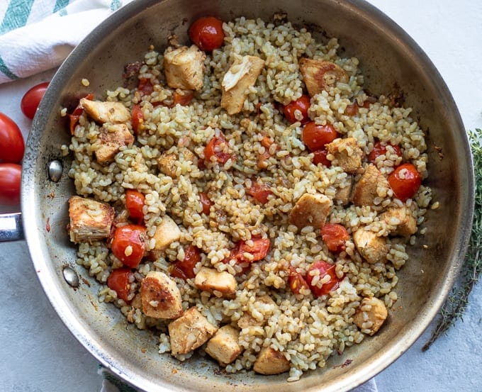 Chicken and Rice in large skillet