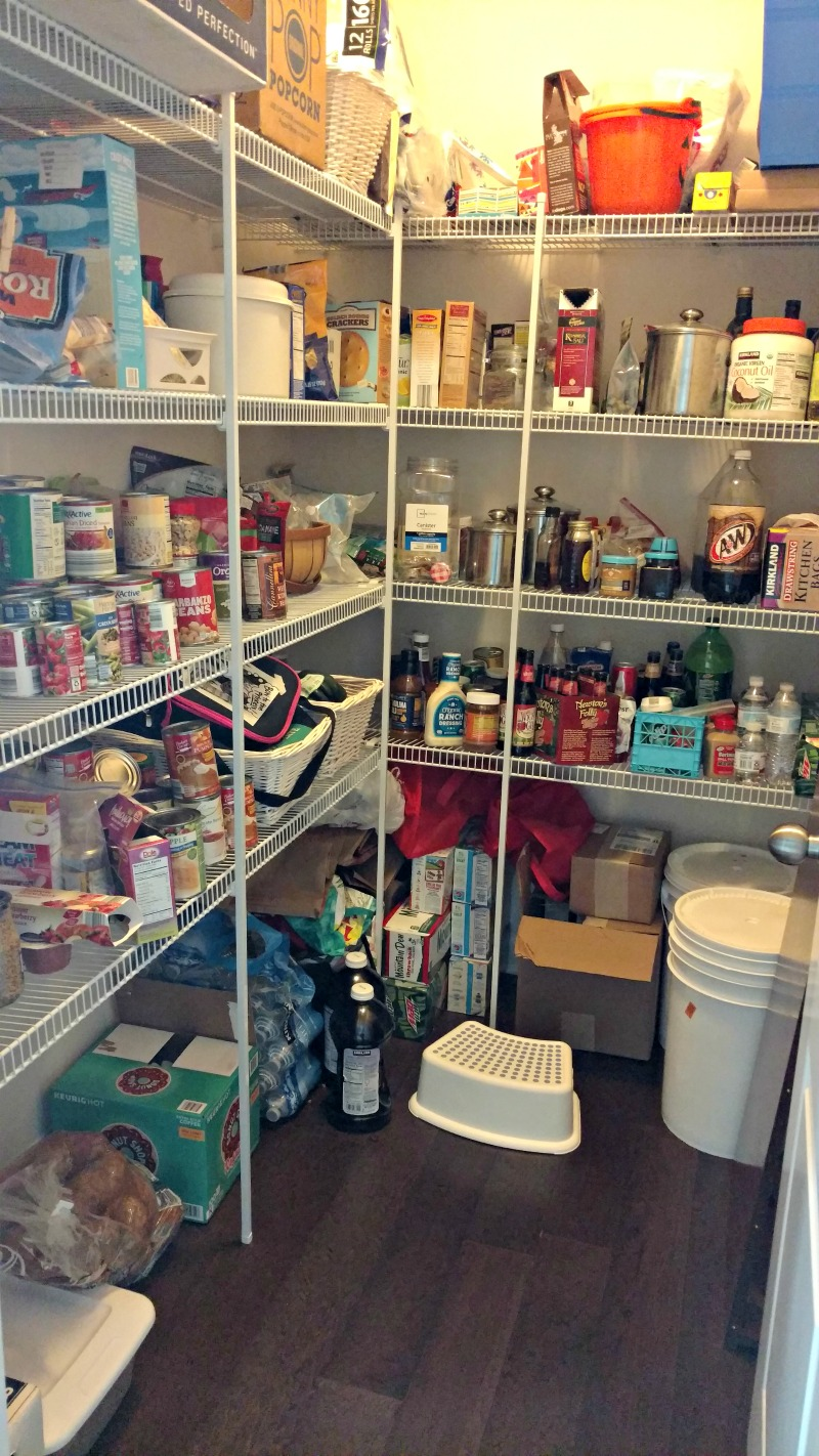 A messy disorganized pantry.