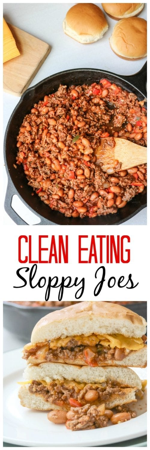Clean Eating Sloppy Joes: Think Sloppy Joes are unhealthy? Think again! Lean ground sirloin, fresh veggies, and beans are enveloped into a sweet and tangy homemade sauce.