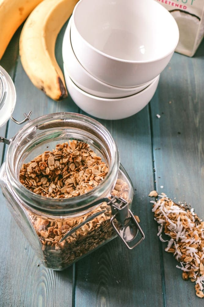 Glass Canister Full of Homemade Healthy Granola