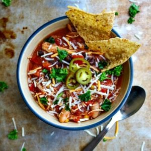 Bowl of Slow Cooker Chicken Chili