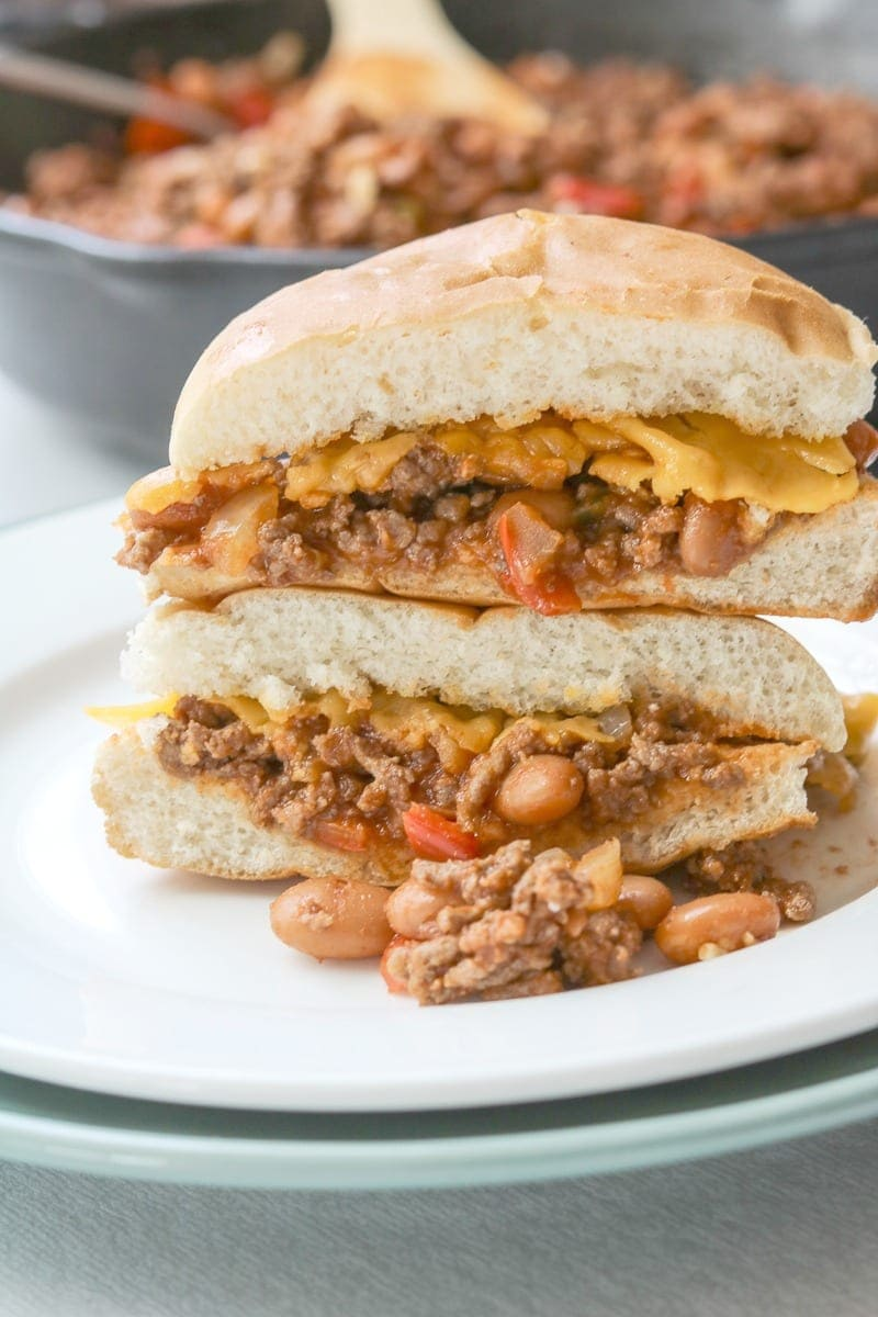 Bean and Beef Sloppy Joes: Pinto beans are added to homemade sloppy joes, streching the beef and saving you money!