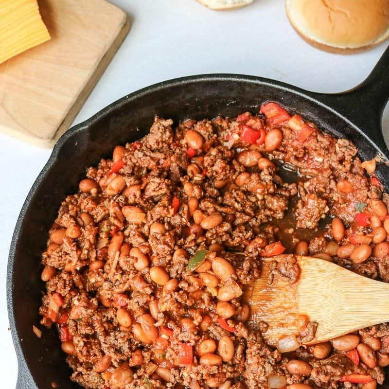 Skillet filled with beans and meat for sloppy joes