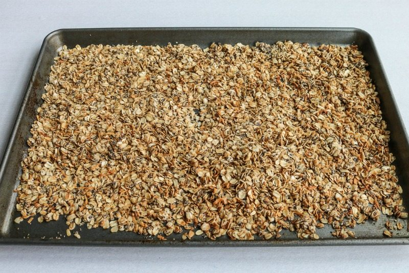 Completed Healthy Granola recipe on a baking sheet
