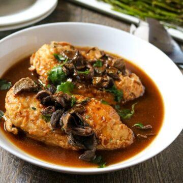 Chicken Marsala on white serving platter