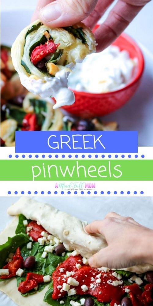 Simple Greek Pinwheels are an easy to make, elegant appetizer that are salty, fresh, and buttery! Made with fresh spinach, roasted red peppers, olives, and feta and puff pastry, this easy Mediterranean appetizer is always a party favorite.