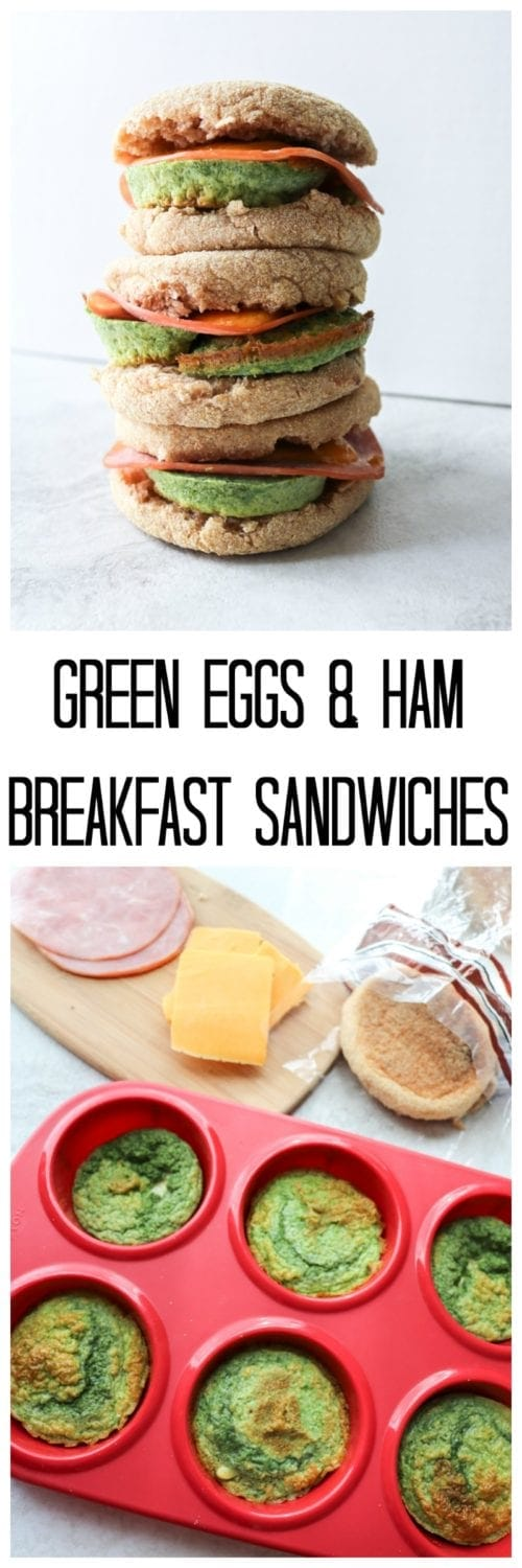 """Green Eggs and Ham Breakfast Sandwiches: Naturally """"dyed"""" with spinach eggs are paired with ham and sharp cheddar cheese to create a portable breakfast sandwich that is easily made ahead and freezer-friendly."""