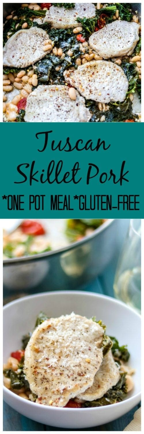 Skillet Tuscan Pork Chops: An easy, one-pot dinner that features thinly sliced pork loin, kale, white beans, and tomaotes. A trip to Tuscany in a skillet. Gluten-Free.