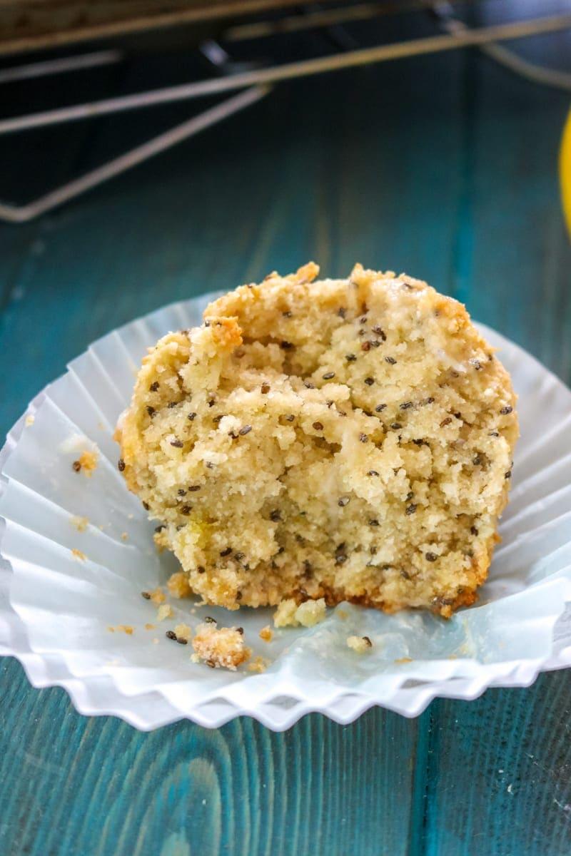 Coconut Lemon Chia Seed Muffin Paleo, Dairy-Free, Gluten-Free, Grain-Free