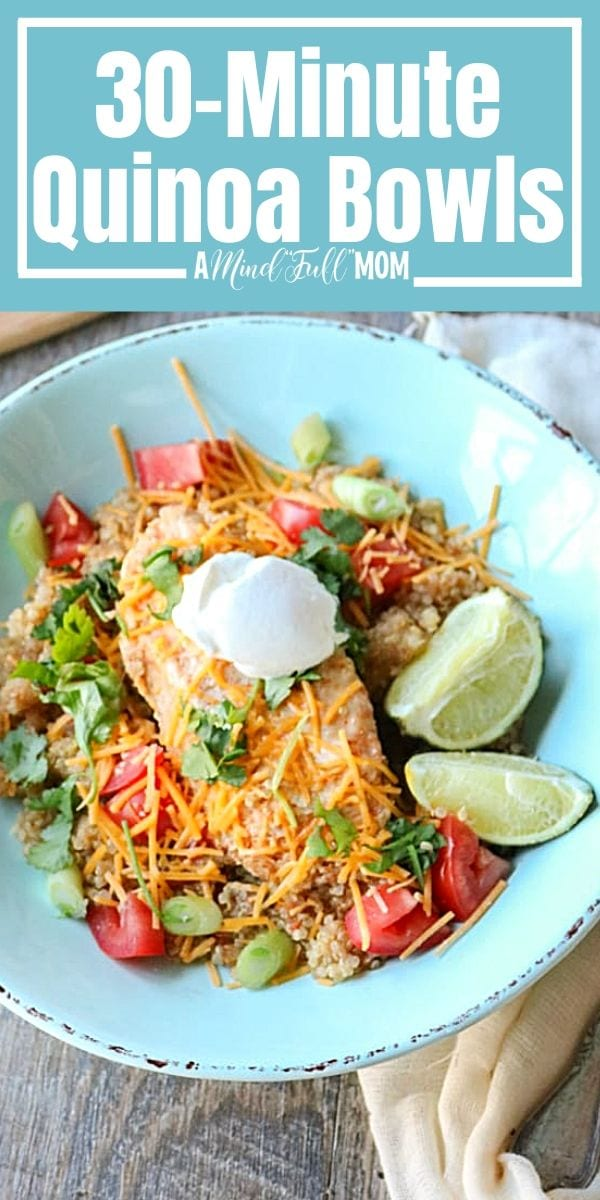 Kitchen staples come together to create protein and nutrient-packed one-pot wonder tastes just like chicken fajitas. Made with quinoa, tender chicken, peppers, and onions, this Chicken Fajita Bowl is ready in less than 30 minutes.
