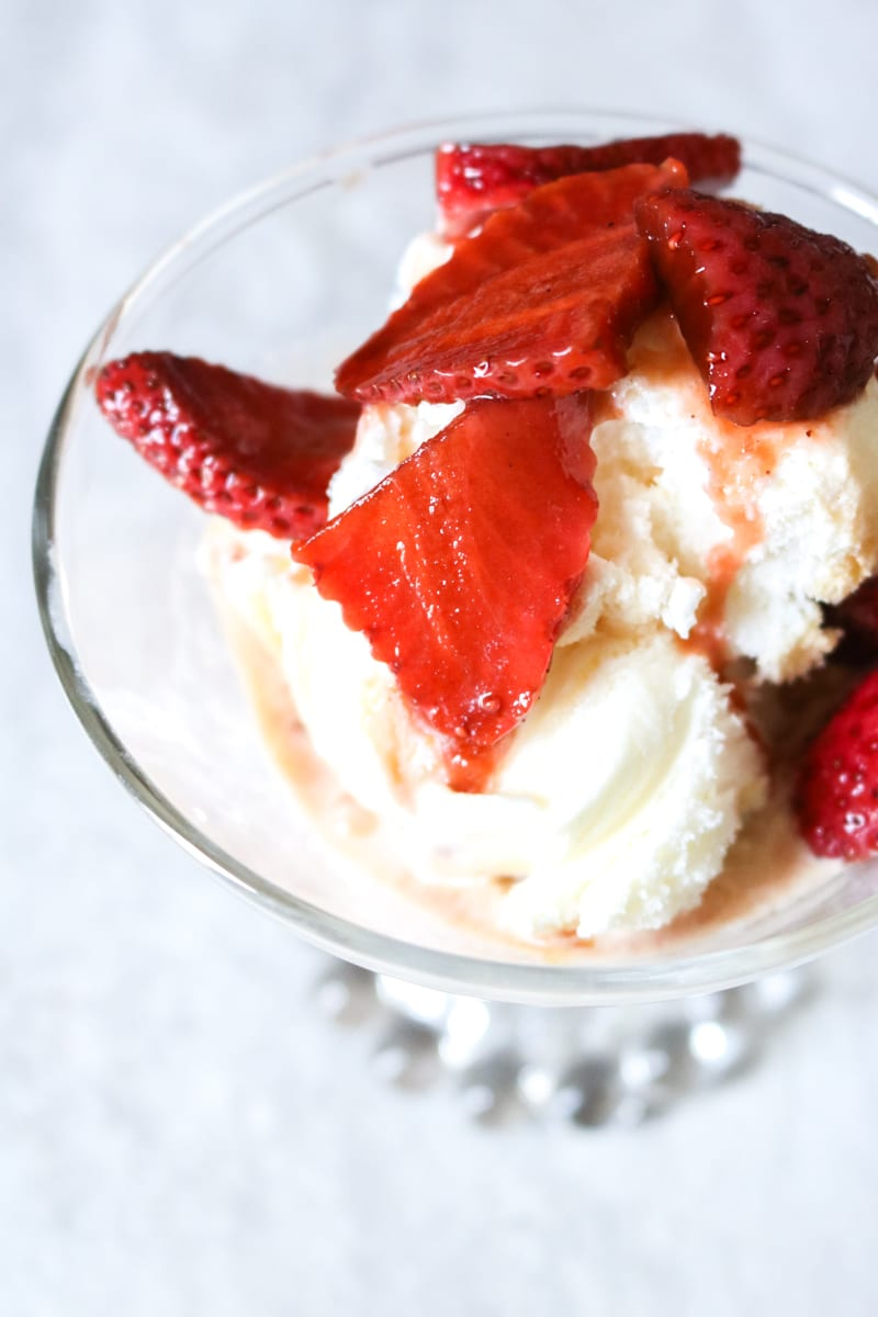 Vanilla Ice Cream Sundae made with Vanilla Balsamic Pickled Strawberries