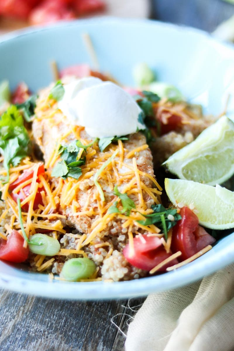 Gluten Free Chicken Fajita Quinoa Bowl