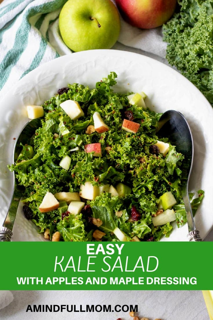 Kale Salad with Apples and Homemade Maple Mustard Vinaigrette: A simple salad with a sweet and tangy dressing massaged into fresh kale and then tossed with apples, raisins, and walnuts. #kale #salad #vegan #sidedish