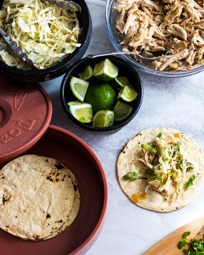 Ingrients for Crock-Pot Pork Carnitas with Mexican Slaw: Sweet and spicy shredded pork makes the perfect base for tacos. Finished with a fresh Mexican Slaw.