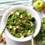Kale salad with apples with walnuts and craisins