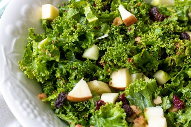 Close up of Kale Salad with apples