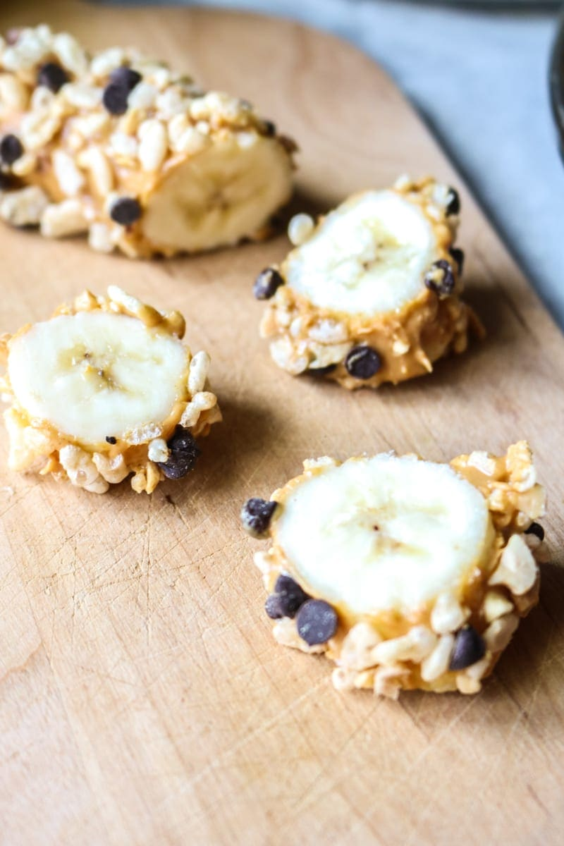 Easy Banana Sushi with Crisp Rice and Peanut Butter.