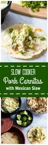 Slow Cooker Pork Carnitas with Mexican Slaw: Sweet and spicy shredded pork makes the perfect base for tacos. Finished with a fresh Mexican Slaw.