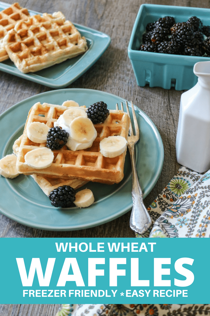 Easy Freezer Friendly Whole Wheat Waffles: Light and fluffy whole wheat waffles pack a dose of whole grains for a healthy start to the day.  Freezing instructions included #waffles #breakfastrecipe #healthybreakfast #nosugaradded #amindfullmom