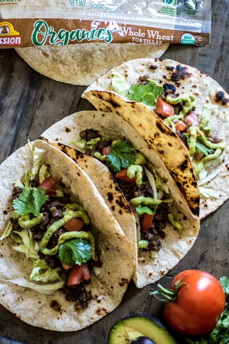Easy Meatless Tacos with Avocado Lime Sauce