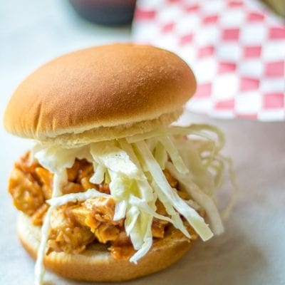 pork sandwich with slaw