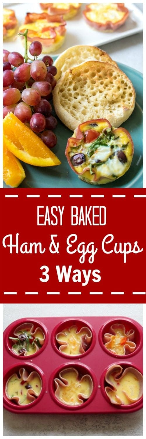 Easy Baked Ham and Egg Breakfast Cups 3 Ways: Make-Ahead, Customizable Breakfast: Make everyone happy with Mediterranean, 3 Cheese, & Western Egg Cups.