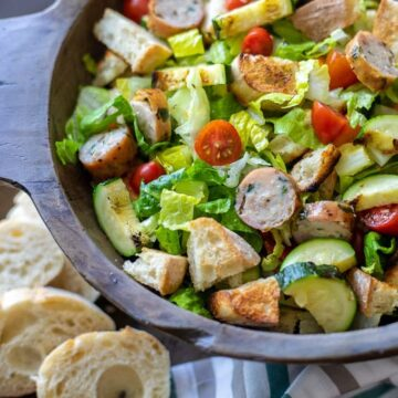 Wooden Bowl with Grilled Salad