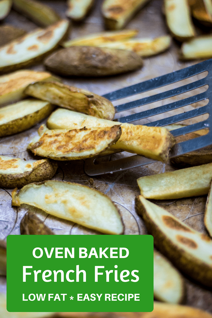 Easy Baked Fries: Low-fat, perfectly crispy oven baked fries. Simple, fast, and healthy, these homemade potato wedges are a perfect side dish! #potatoes #sidedish #lowfat #frenchfries #glutenfree #vegan