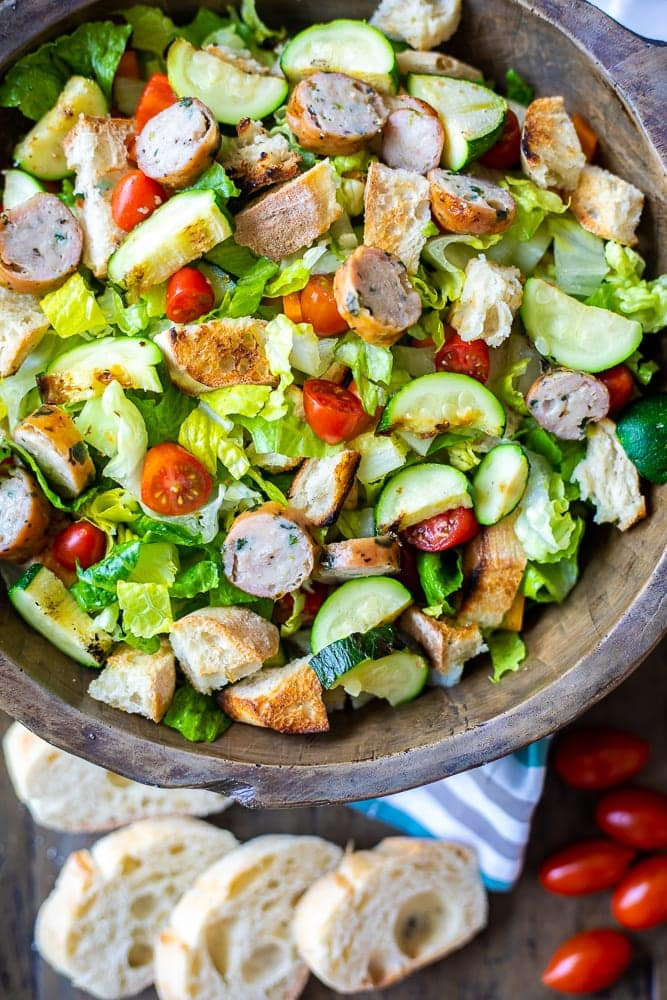 Wooden Salad Bowl with Grilled Panzanella