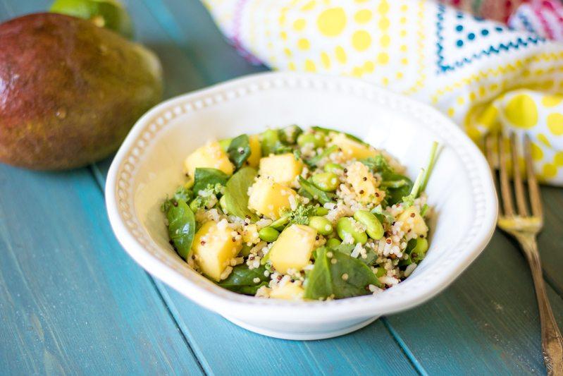 Bowl of rice with fresh mango and edamame