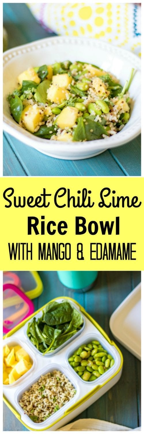 Sweet Chili Lime Rice Bowl with Mango and Edamame: Sweet and spicy edamame and fresh mango are tossed with fresh spinach and cilantro lime brown rice creating a perfectly balanced meal that is guarenteed to take your lunch from ho-hum to spectacular.