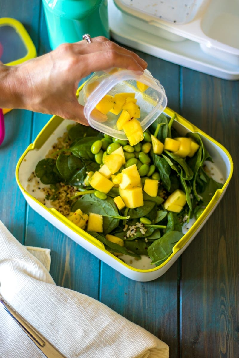 Mango Rice Spinach Salad with Edamame and Lime Dressing