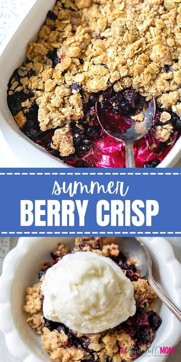 Made with juicy, plump berries and a buttery oat topping, this Berry Crisp is one easy and satisfying dessert. It can be made with frozen or fresh berries, making it perfect year-round!